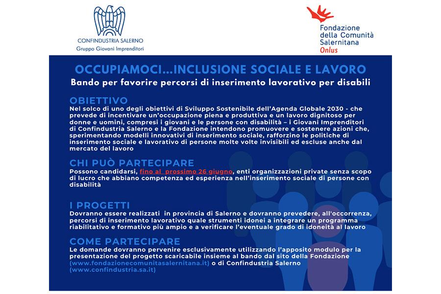 I GI di Confindustria Salerno e la Fondazione Comunità Salernitana lanciano un bando per favorire percorsi di inserimento lavorativo per disabili